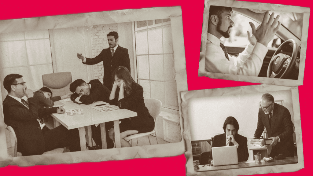 Three images with terrible stock images of office employees