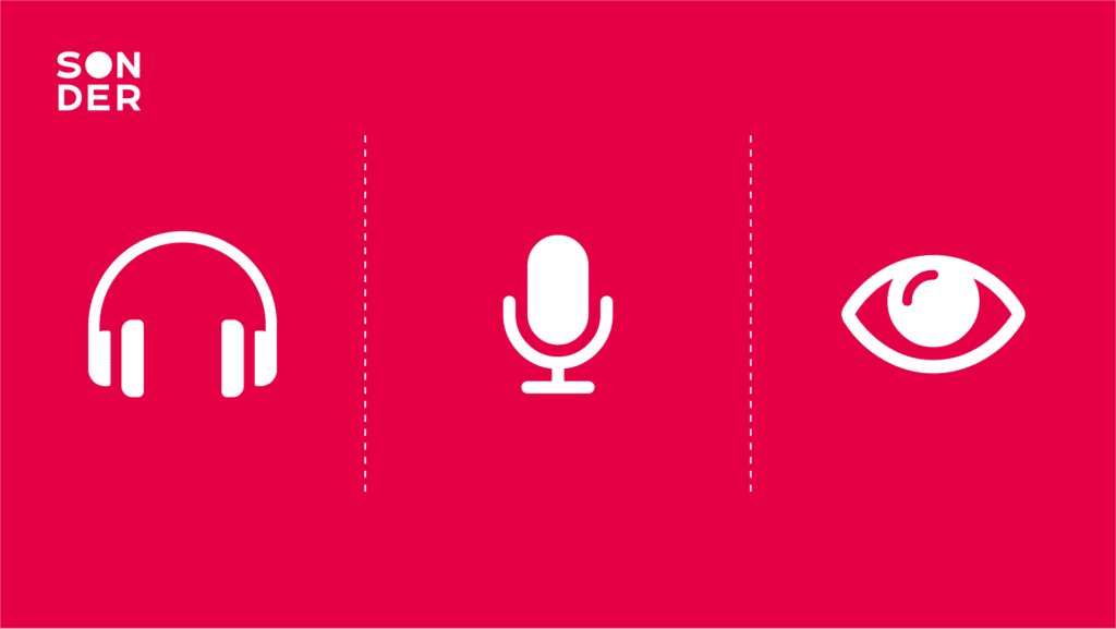 three icons including headphones, a microphone and an eye